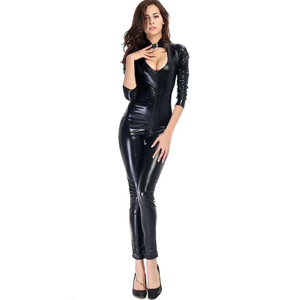e11e7affa0 Women Zipper Bodysuits Front Cut Out Faux Leather Jumpsuits Long Sleeves  Clubwear Skinny Bodycon W880467-in Jumpsuits from Women s Clothing on ...