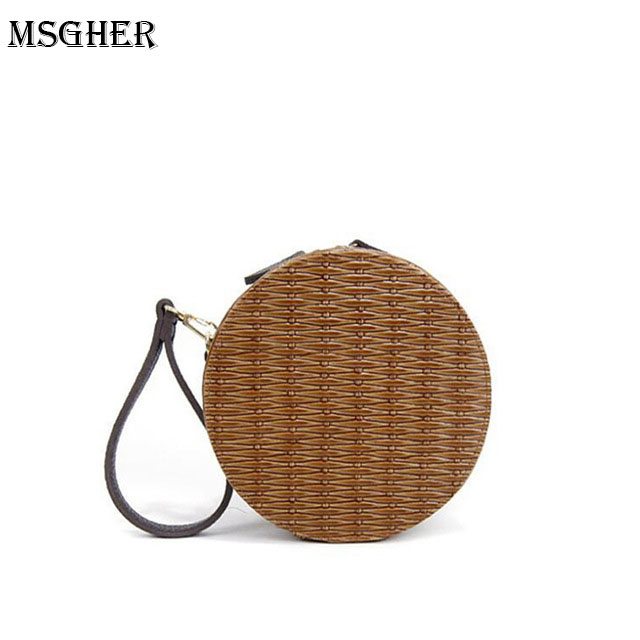 M.S Solid Woven Female Round Bag Vintage Knitting Straw Bags Handmade Quality Messenger Bag Summer Beach Circular Handbags SW044