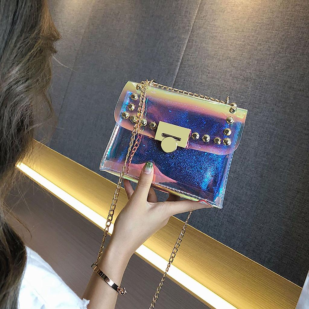 Transparent Laser Handbag For Woman New Arrival Mini Square Shoulder Bag Classic Chain Candy Fanny Bag Sac Banane Femme Drop
