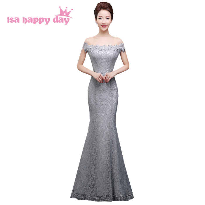 modest lady lace gray boat neck mermaid evening gown sexy women clothing  long summer ball dress night dinner dresses 2018 W3517 d684faa63159
