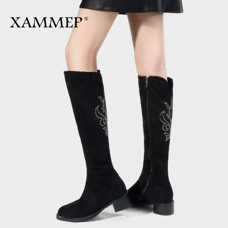ผู้หญิงฤดูหนาวรองเท้าเข่าสูงรองเท้าบูท Plus ขนาดใหญ่คุณภาพสูง Faux Suede ยี่ห้อผู้หญิงรองเท้าผู้หญิงผ้าขนสัตว์ฤดูหนาวรองเท้า
