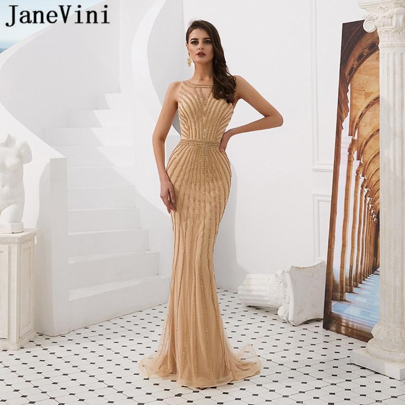 JaneVini Luxury Beaded BlingBling Long Mermaid   Prom     Dresses   2019 O Neck Sleeveless Tulle Saudi Arabia Women Formal Evening Gowns