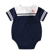 Navy Summer Baby Short Sleeve Rompers