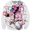 Harajuku quadrinhos Kid Buu 3D camisola Jumper clássico Anime Dragon Ball Majin Buu Crewneck Hoodies Pullovers mulheres / homens casacos