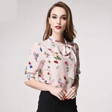 Kakagogo Lovely Informal Bow Print Actual Silk Blouses Shirts Xxl Xl Plus Dimension Ok283