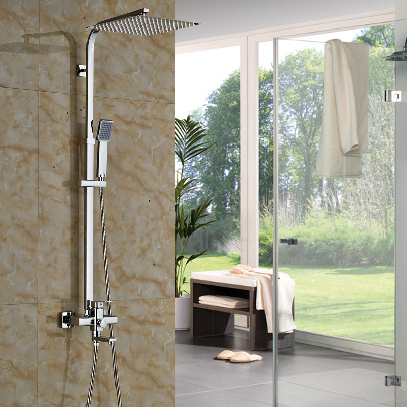 Polished Chrome 12 10 8 Inch Rain Showerhead Bathtub