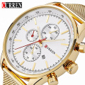 2016 CURREN New Gold Quartz Watches Men Top Brand Luxury Wrist Watches Golden Clock Male Relogio Masculino Quartz-Watch 8227