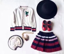 New Autumn winter Baby suit Girls knit cardigan strawberry Sweater  + pleated skirt suit 2pcs set wholesale