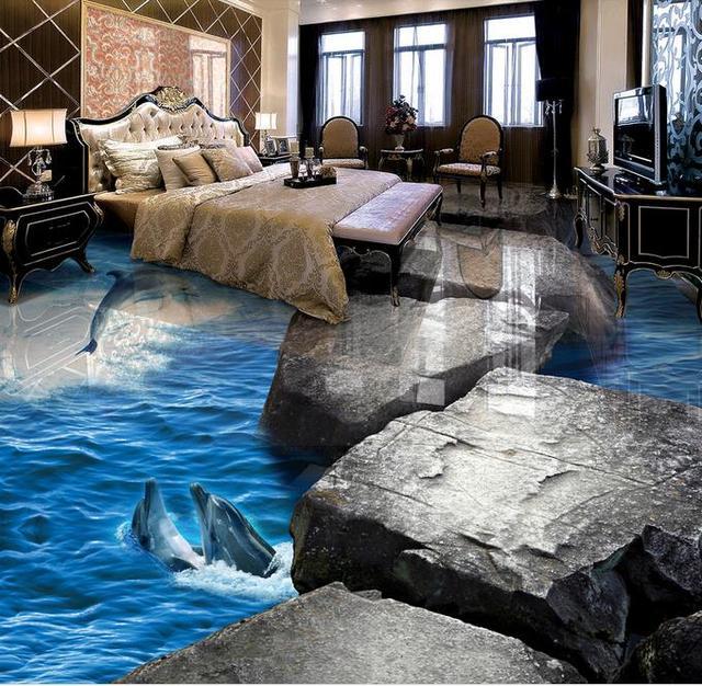 3d bodenbelag Stein dolphins wandbild tapete 3d boden wandmalereien ...