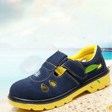 new fashion men big size steel toe cap working safety shoes soft leather worker sandals tooling security boots protect footwear big size men fashion breathable steel toe cap working safety shoes genuine leather slip on tooling boots protection footwear