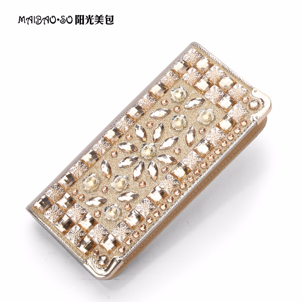 Woman Evening Bag Ladies Diamond Rhinestone Clutch Crystal Day Clutch Wallet Wedding Bridal Purse Party Banquet Gold Silver