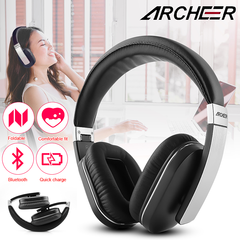 100% Original Archeer AH07 NFC Bluetooth Foldable Headphone Wireless Stereo Headphone With Mic Soft Ear Cups Adjustable Headset
