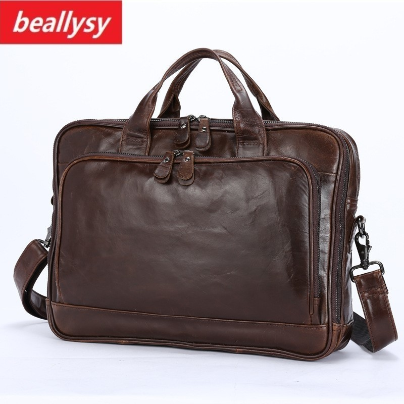 Genuine Leather Men Briefcase Office Bag Business Laptop Tote Bag Cowhide Men Messenger Bags Lawyer Male Handbag Shoulder bag зонты