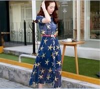 Summer High Quality Latest Style Fashion Flowers Printed Elegant Ladies Chiffon Long Dress With Belt