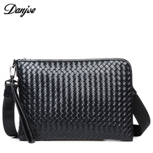 DANJUE Men Bag Genuine Leather Men Messenger Bag Knitting Fashion Casual Bags High Quality Shoulder Bag Male Fashion