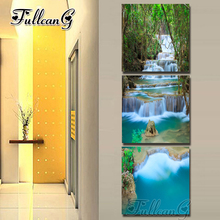FULLCANG diy 3 pieces diamond painting nordic forest waterfall triptych mosaic cross stitch 5d embroidery full drill G1275