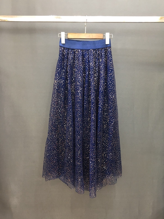 Primavera Nueva Medio Mujer Malla Elástica Y De longitud Verano 0315 Azul caqui 2019 Cintura Larga Falda FSFr1wqx