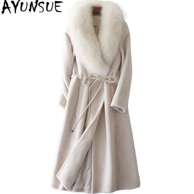 Ayunsue Femmes De Fourrure Manteau Long Mouton Mouton Veste Avec