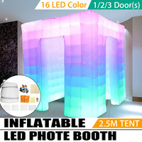 2.5*2.5*2.5M Protable Inflatable LED Photo Tent Inflatable Booth Tent Inflatable Wall Backdrop With Air Pump for Party Wedding