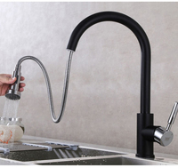 Hot And Cold Water Pull Out Black Color Kitchen Mixer Faucet