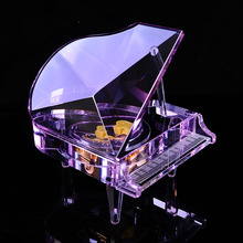 Color crystal piano music box, creative couple birthday gift, Christmas music box