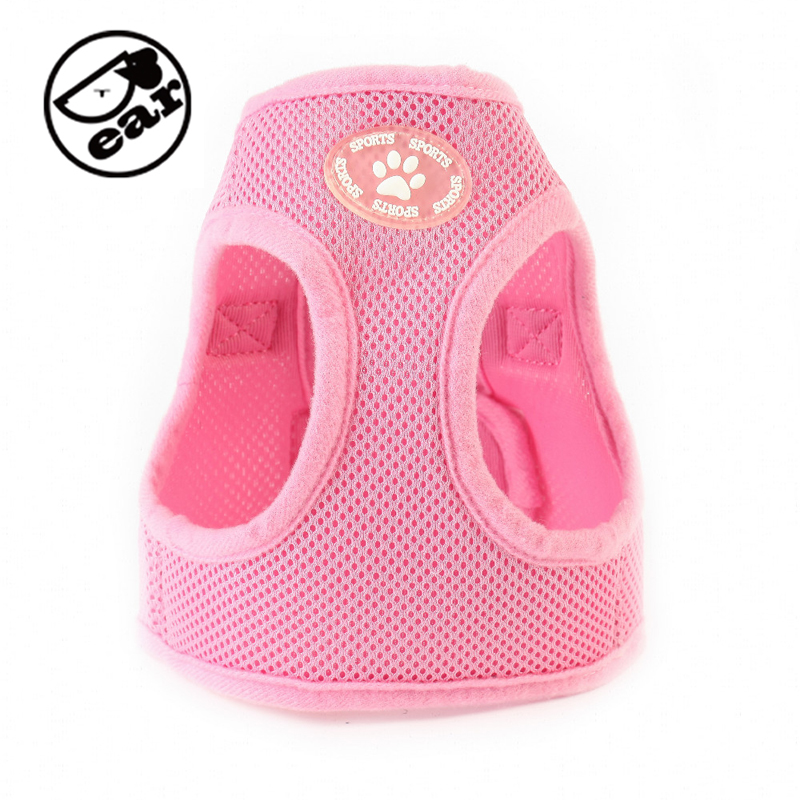 Justerbar Soft Nylon Mesh Small Dog Harness Vest Step-in Pustende Pet Cat Belt Collar & Leash Walking Sikkerhed Strop Tøj