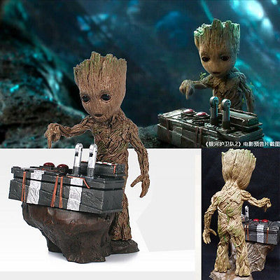 цены  Guardians of the Galaxy Vol.2 Baby Groot Push Bomb Button Figure Statue Toy New Arrived Cool Toys Arrange The Furniture