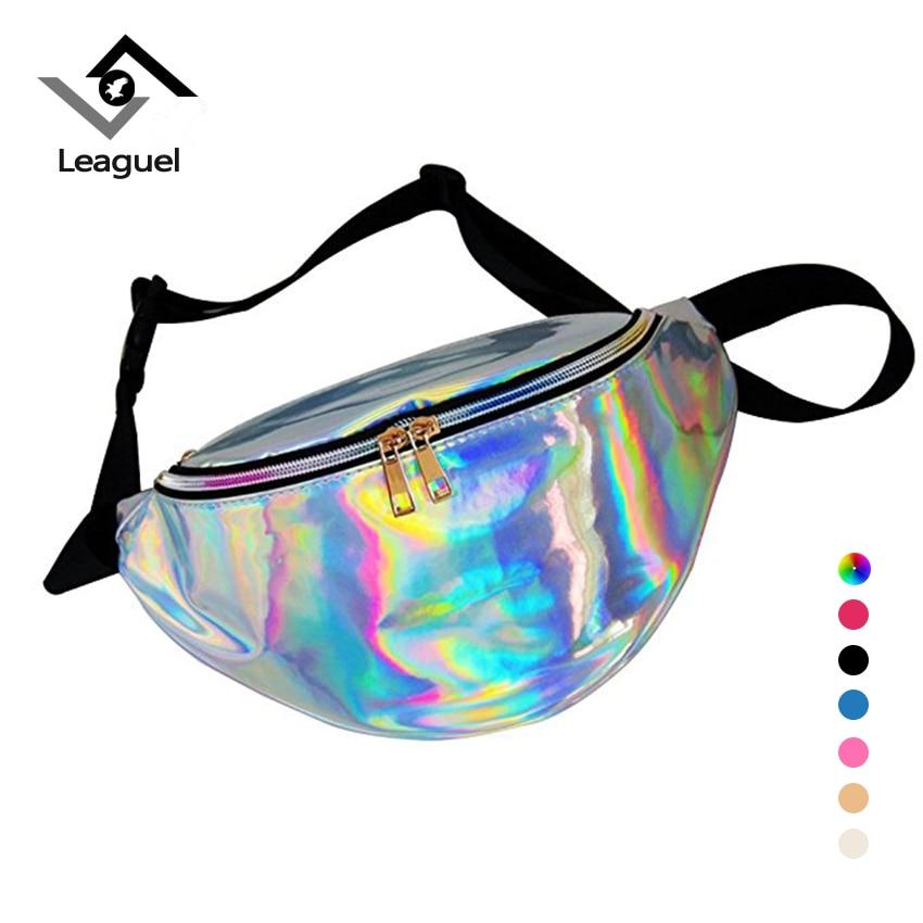 Leaguel Holographic Laser Waist Bags Cool Women Fanny Belt waist packs for fit Girl waterproof bag for Summer Travel beach bags