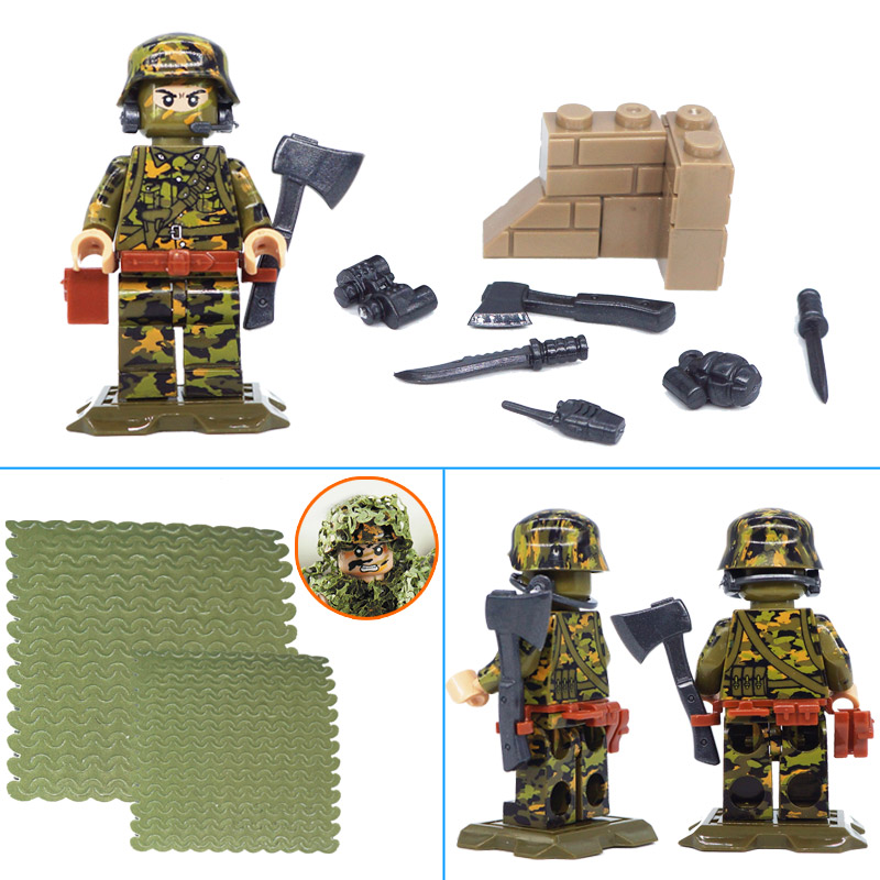 LegoINGlys WW2 German Camouflage SS Panzer Grenadier Regiment Trooper  Citadel Military Toy Army Figures Building Blocks Weapons