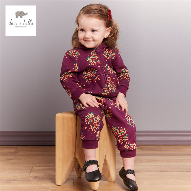 DB3993 dave bella  autumn baby girls fall flower printed clothing set floral sets grape hooded clothing set
