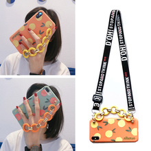 orange wristband shoulder strap silicone case for iphone 8 7 6 6s plus X XR XS MAX case cover fashion 3d patterned soft phone ba цена