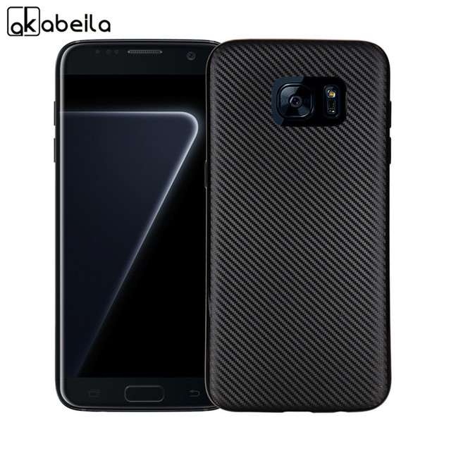 AKABEILA Silicone Phone Cover Case For Samsung Galaxy S7 G930F G930FD G930W8 G930 G9300 SM-G930A Case Carbon Fiber TPU Cover