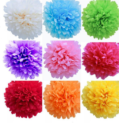 Free Shipping 200pcs 7 Sizes to choose Party Decoration Tissue Paper Pompom Weddings Nursery Baby Shower Birthday Party Flower