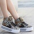 Женщина обувь на каблуках платформы случайные Бесплатная доставка клин повседневная обувь Leopard Кожа Обуви 2016 новая мода повседневная женская обувь