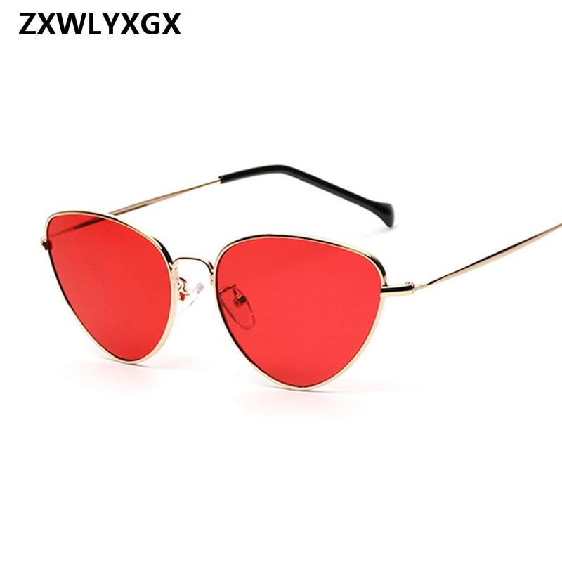 Trendy Tinted Color Vintage Shaped Sun glasses Famle Drop Shaped Ocean Cat Eye Sunglasses Women Brand Designer Oculos de sol 1
