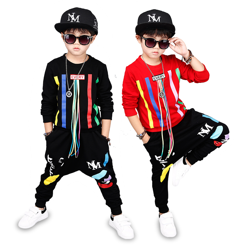 5 Bibihou new spring autumn kids clothes sets children 2 pcs Hip hop suit Shirt coat + Harem pants baby boys sport suits Color bar