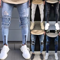 2017 Male Hiphop Streetwear Pants High Quality Mens Knee Ripped Biker Jeans Cotton Slim Fit Motorcycle