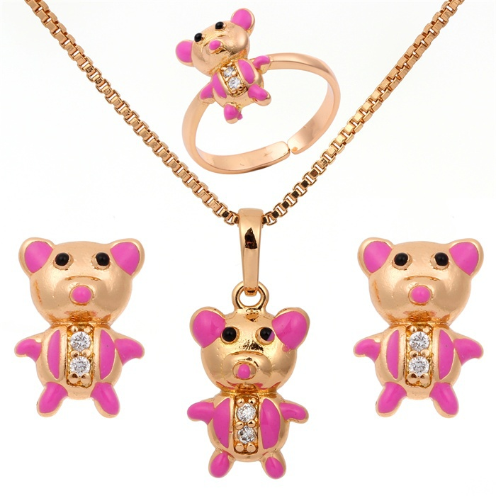 Yellow Gold Plated Pink Painting Bear Shape CZ Pendant Necklace