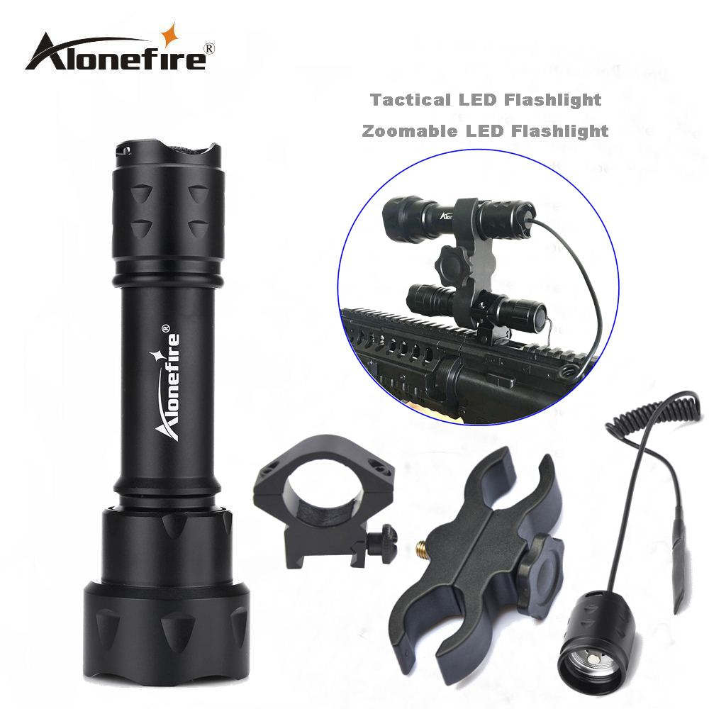 AloneFire TK20 LED Tactical Flashlight CREE XM-T6  LED Tactical Zoomable Flashlight Powerful Flashlight for Hunting gun mount