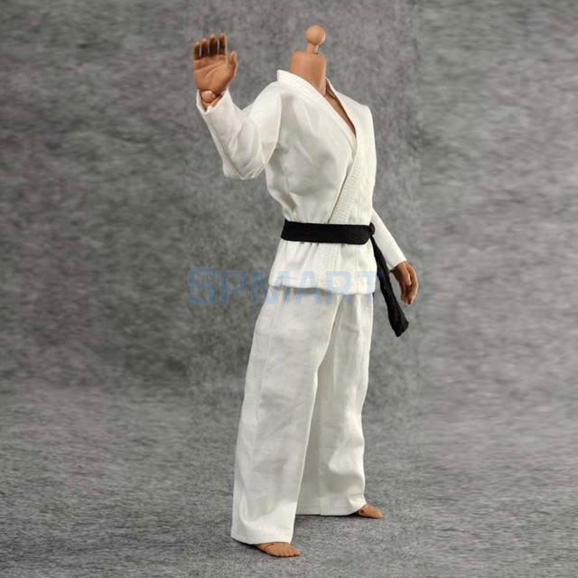 1/6 escala judo gi uniforme branco kung fu terno calças jaqueta para 12 polegada figura de ação masculina dragão