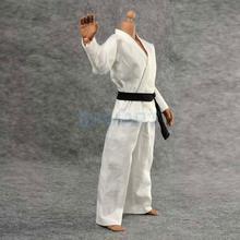Pantaloni in giacca di Kung Fu uniforme bianca Judo Gi in scala 1/6 per drago da 12 pollici con Action Figure maschili