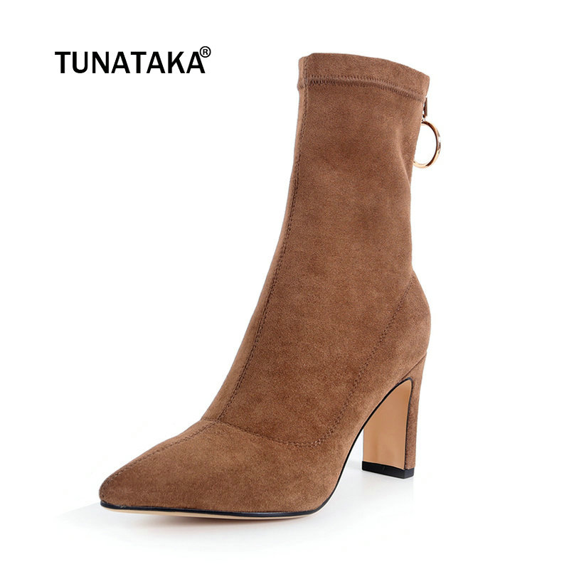 Ladies Suede Square Heels Zipper Ankle Boots Fashion Pointed Toe Winter Elastic Shoes Black Brown цена