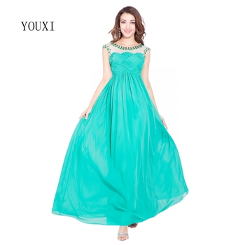 Chiffon Sexy Sparkly Long Prom Dresses Scoop Sheer Back 2019 Crystal Beaded Formal Evening Party Gowns