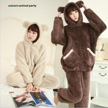 bear Kigurumi Onesies Cosplay Winter Thickening Coral Pajamas Woman Lovely Student Cartoon Home Furnishing Serve Suit