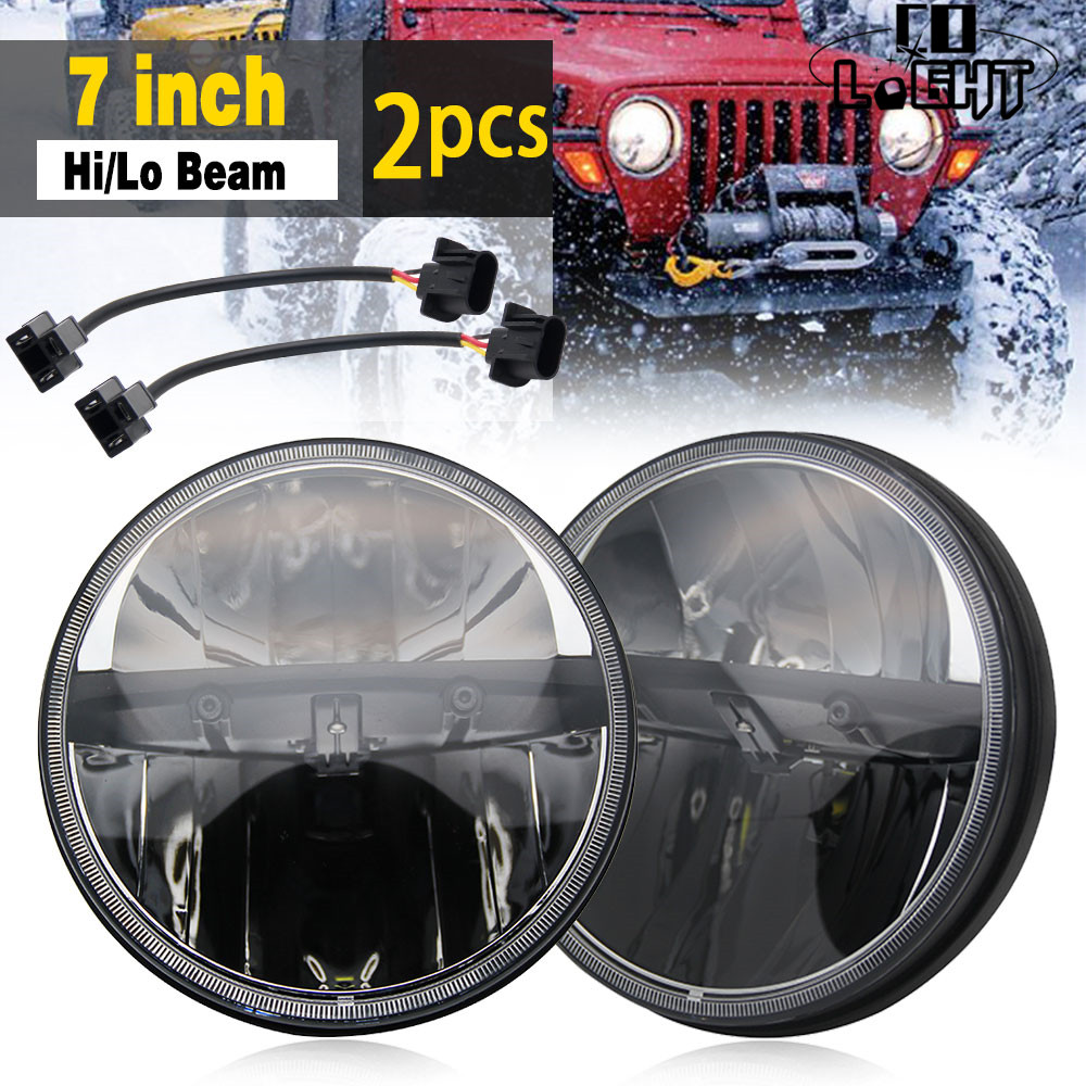 CO LIGHT 7 Inch 80W LED Headlight Hi/Lo DRL Auto Driving Light for Jeep Lada Hummer Niva 4x4 Offroad Car Styling Fog Light 12V tc x upgrade led car headlight bulb kit h7 80w set h4 hi lo head lamp fog light kit h11 hb3 hb4 led auto front bulbs wholesale