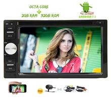8 Core 2GB+32GB Android 7.1 Car Stereo Double Din Car Radio CD DVD Player GPS Support 4G/Bluetooth/SWC/DAB+/OBD2+Wireless Camera