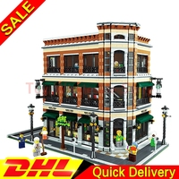 LEPIN 15017 4616Pcs Expert MOC Starbucks Cafe And The Bookstore Model Set Building Kits Model Christmas
