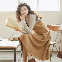 Women Winter Dress 2018 Korean Style Vintage Faux Suede Leather V Neck Knee Length Spaghetti Strap Midi Dress vestidos 1310
