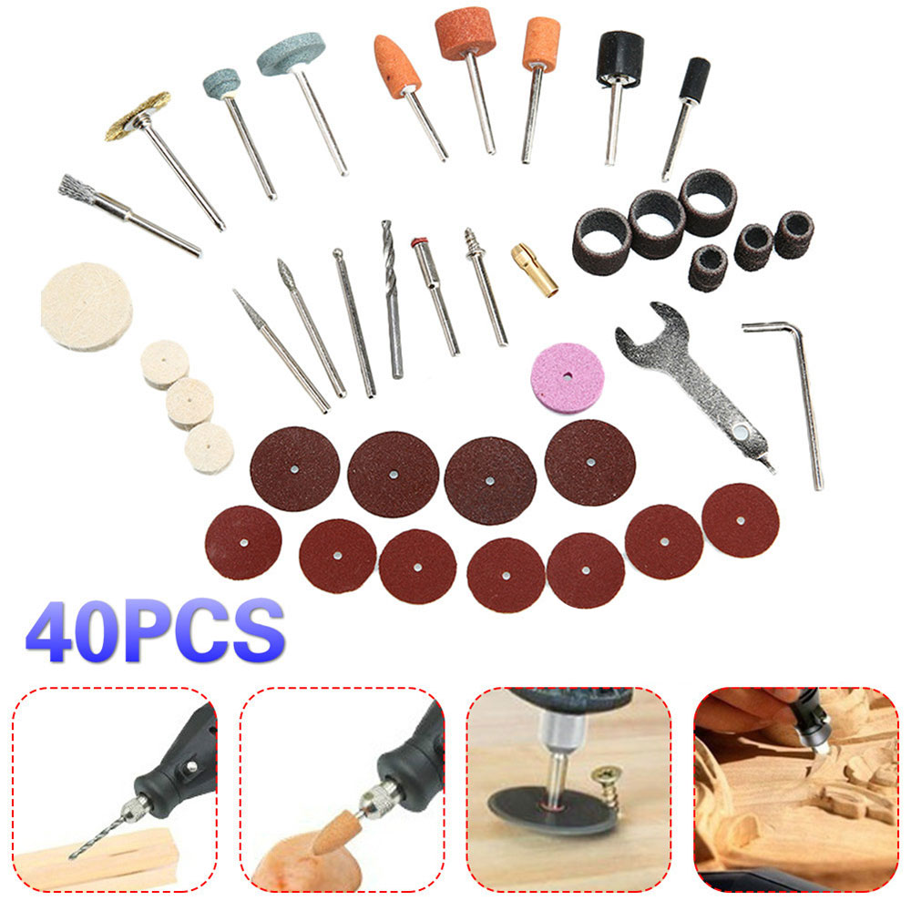 Practical 40pcs Electric Suit Colour Plastic Wool Polishing Wheel Steel Brush Renovation DIY Sandpaper Bar Circle Carpenter
