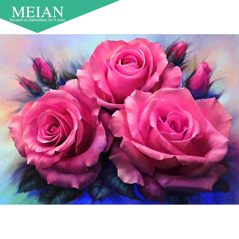 Meian,Full,Diamond Embroidery,Flower,Rose,5D,Diamond Painting,Cross Stitch,3D,Diamond Mosaic,Needlework,Crafts,Christmas,Gift